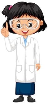 Meisje dat laboratoriumtoga op wit draagt
