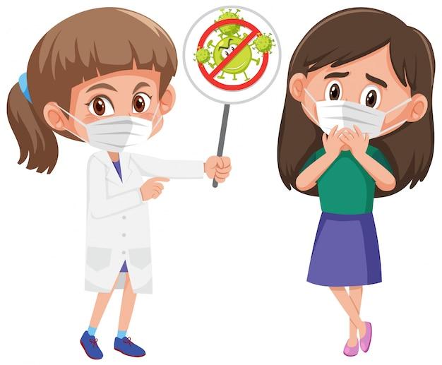 Meisje dat masker draagt met arts die het coronavirus stopbord houdt