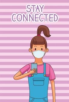Meisje dat medisch masker en smartphones voor verbonden verblijf draagt