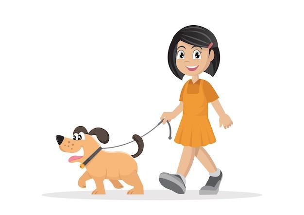 Meisje dat met hond loopt.