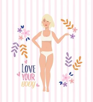 Meisje dat onderkleding met de levensstijl van de lichaamshouding draagt
