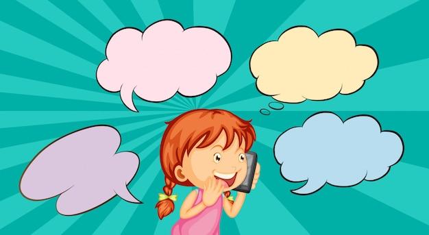 Meisje dat op de telefoon spreekt