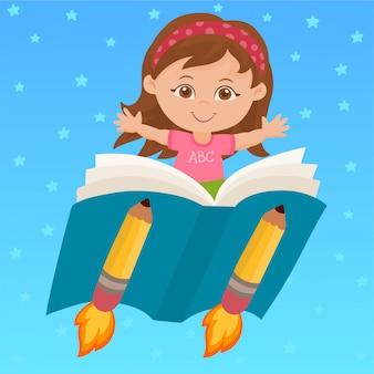 Meisje dat op een boek vliegt
