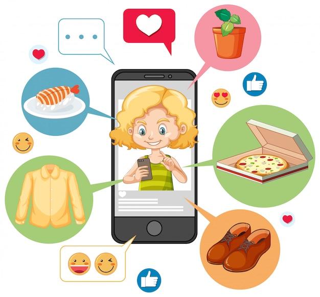 Meisje dat op het karakter van het smartphonebeeldverhaal zoekt dat op witte achtergrond wordt geïsoleerd