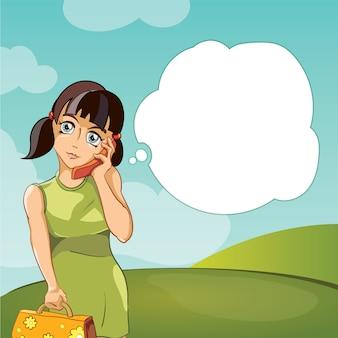 Meisje dat op telefoon spreekt