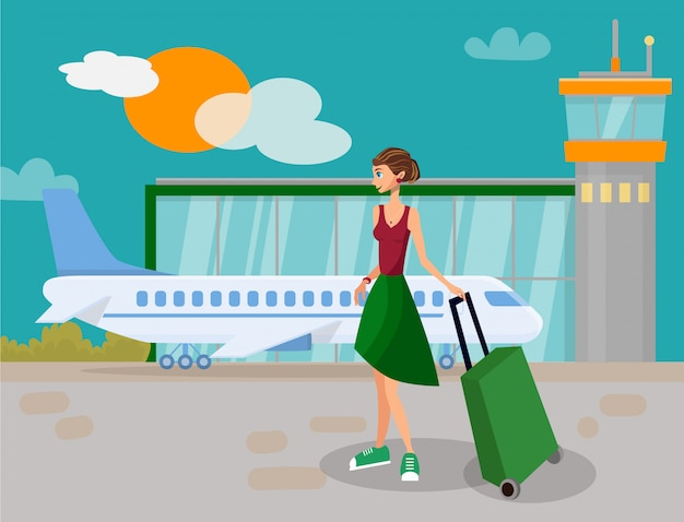 Meisje dat op vakantievakantie gaat