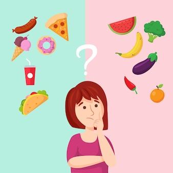 Meisje dat over gezond en snel voedsel denkt