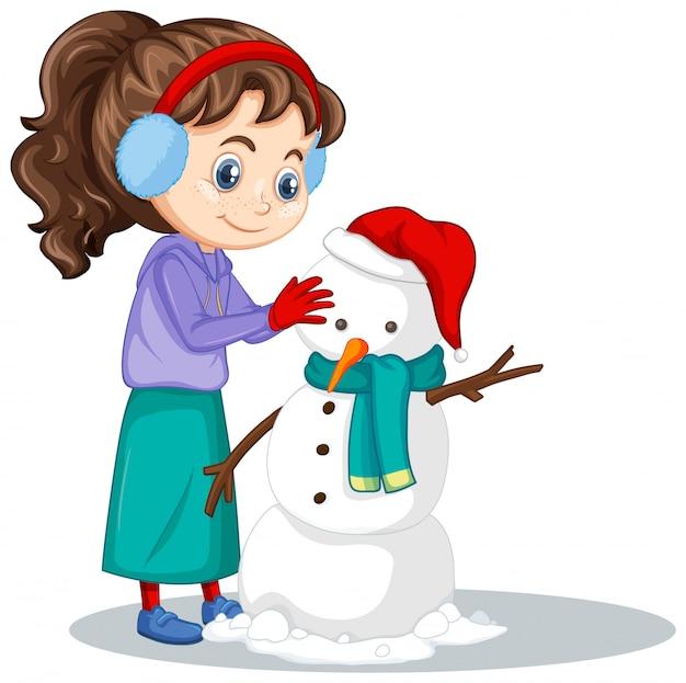 Meisje dat sneeuwman geïsoleerd maakt