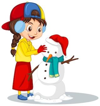 Meisje dat sneeuwman maakt