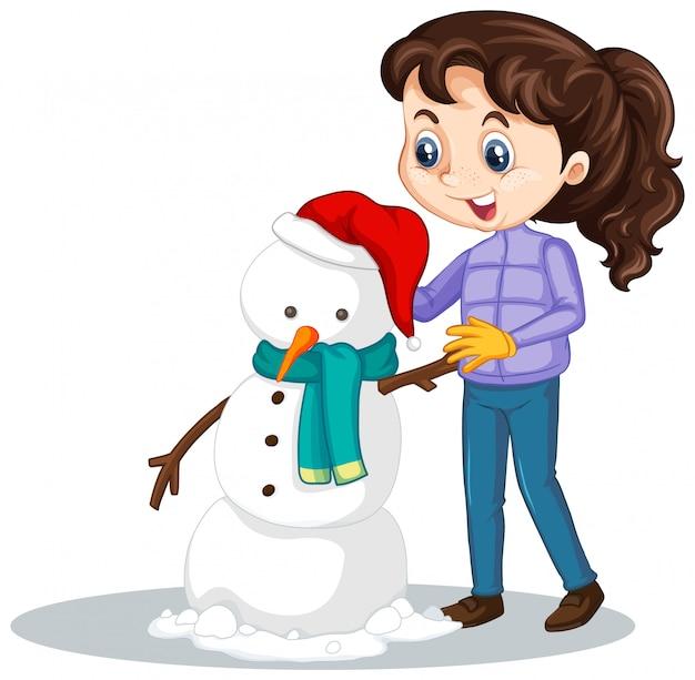 Meisje dat sneeuwman op geïsoleerd maakt