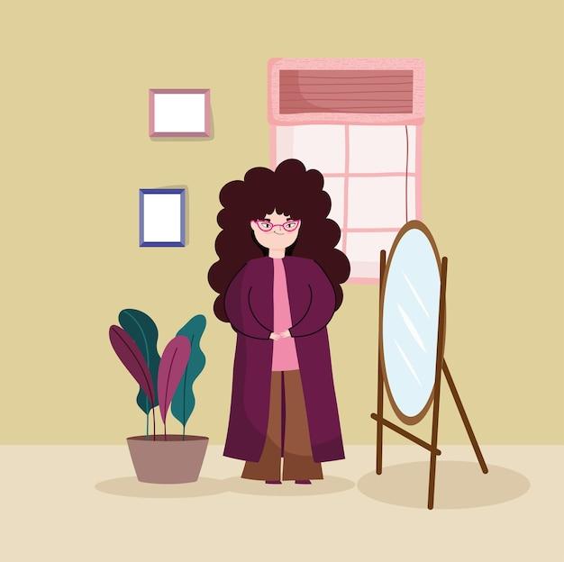 Meisje dat spiegel bekijkt
