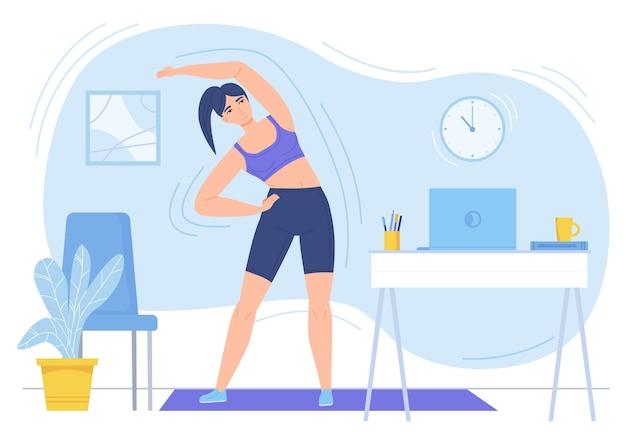Meisje dat thuis fitness op mat oefent online sport gezonde levensstijl in vlakke stijl