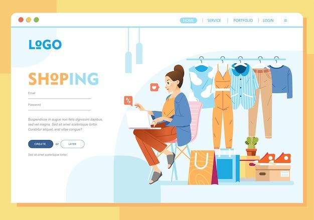 Meisje dat thuis online winkelt met behulp van de vlakke afbeelding van de laptop bestemmingspagina voor bestemmingspagina