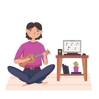 Meisje dat ukelele speelt. klein hawaiiaans muziekinstrument. thuis muziekles geven via internet. moderne platte vectorillustratie