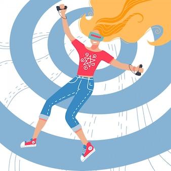Meisje dat virtuele werkelijkheidshoofdtelefoons draagt, beeldverhaalhand getrokken illustratie. jonge vrouw spelen met virtual reality-simulator tegen de achtergrond van concentrische cirkels