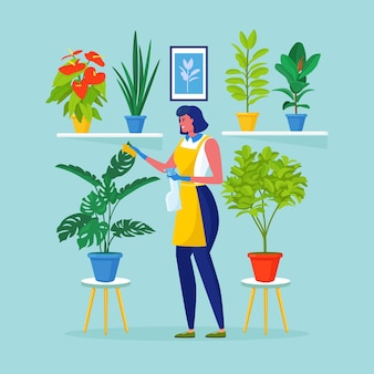 Meisje dat voor planten zorgt. broeikas. mooie vrouw zorgt voor bloemen in potten