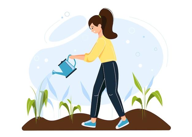Meisje dat voor spruiten, zaailingen zorgt. karakter bewateert bloemen uit een gieter in een moestuin.