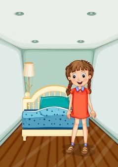 Meisje dat zich in slaapkamer met blauw bed bevindt