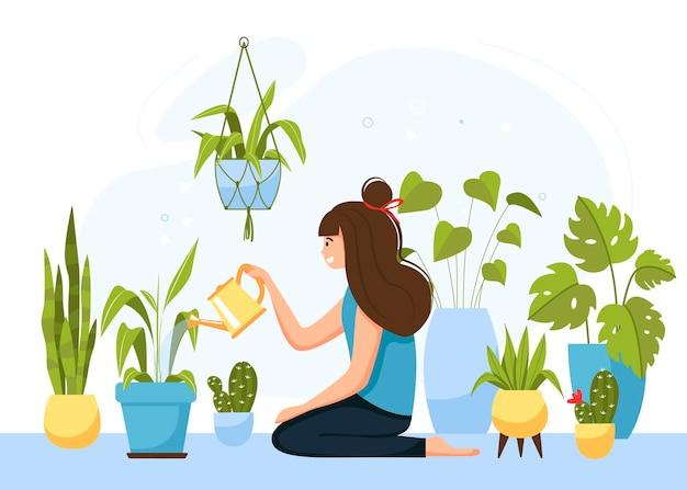 Meisje de zorg voor huisbloemen in potten. karakter bloemen water geven uit een gieter.