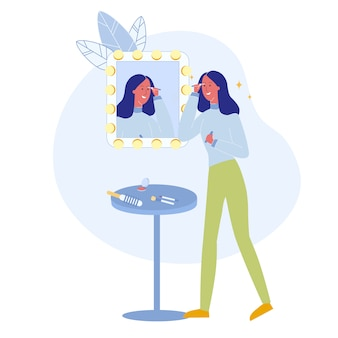 Meisje die de vlakke vectorillustratie van de mascaraborstel gebruiken