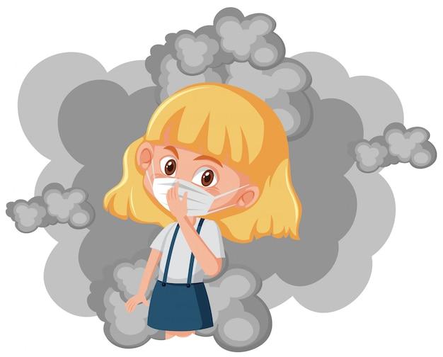 Meisje die masker met binnen vuile rook dragen