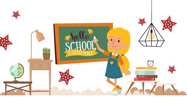 Meisje die op bord hallo school, illustratie schrijven. gelukkig kind, glimlachend stripfiguur, slimme jongen klaar voor school. vrolijk meisje op de basisschool