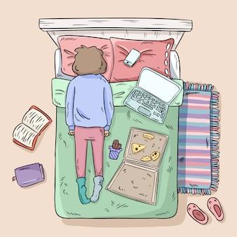 Meisje die op het bed uitstellen