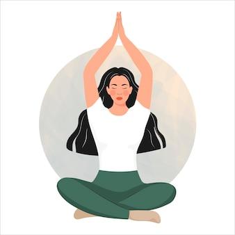 Meisje doet yoga asana vectorillustratie in cartoon boho-stijl