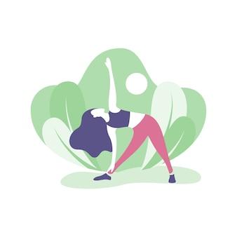 Meisje doet yoga en sport concept illustratie