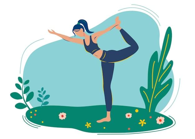 Meisje doet yoga in de natuur, in het park, genietend van de rust. buiten yoga.