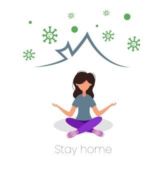 Meisje doet yoga thuis. blijf thuis concept. vector illustratie.