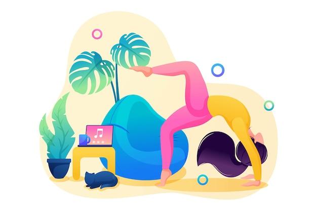 Meisje doet yoga voor de gezondheid van lichaam en geest. yoga aan huis. platte 2d webdesign.
