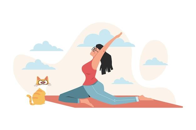 Meisje doet yoga voor gezondheidsvoordelen van het lichaam, geest en emoties