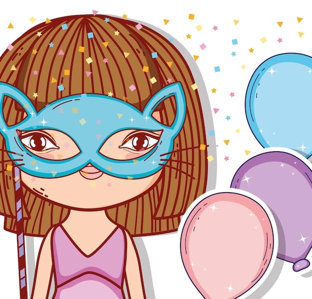 Meisje draagt kat masker met ballonnen stijl