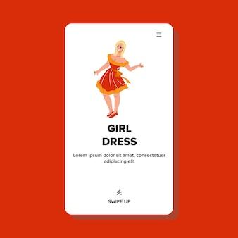 Meisje dragen modieuze kleding kleding vector. aantrekkelijke jonge vrouw in stijlvolle jurk rustend op glamour party of fashion week. karakter dragen elegante kleding web platte cartoon afbeelding