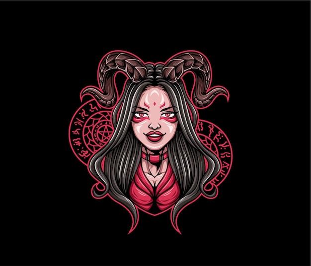 Meisje duivel illustratie