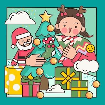 Meisje een kerstboom versieren