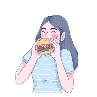 Meisje eet hamburger cartoon karakter illustratie