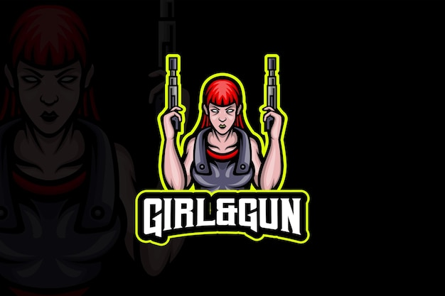 Meisje en geweer esport logo sjabloon