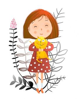 Meisje en hamster of cavia