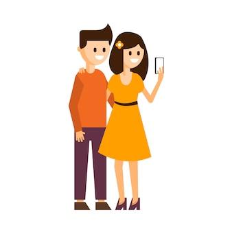 Meisje en jongen die een selfie-illustratie maken
