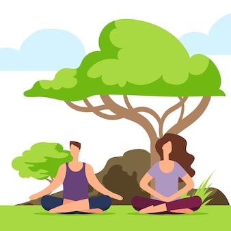 Meisje en jongen die yoga op de aard doen