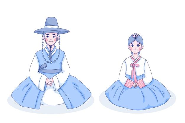 Meisje en jongen karakter cartoon afbeelding.