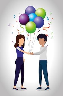 Meisje en jongen met ballonnen en partij confetti