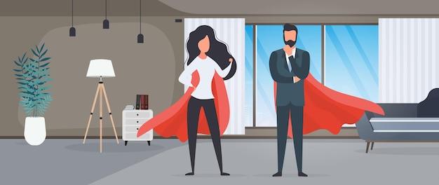 Meisje en jongen met een rode regenjas. vrouw en man superheld. het concept van een succesvol persoon, bedrijf of familie. vector.
