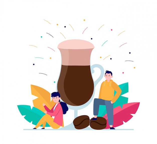Meisje en jongen met groot glas latte