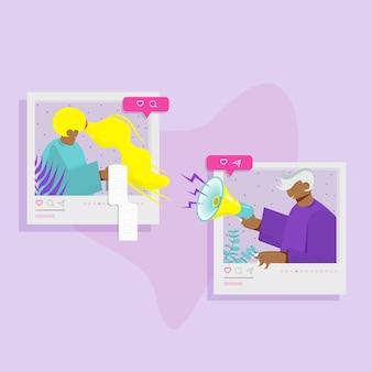 Meisje en jongen op sociale netwerken. platte vectorillustratie. Premium Vector