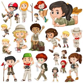 Meisje en jongen scouts collectie