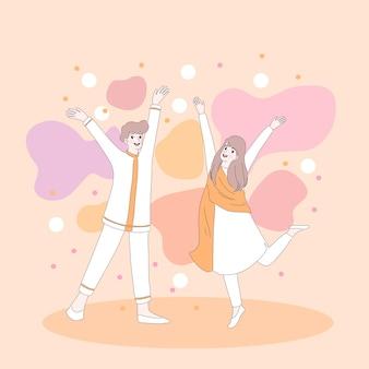 Meisje en jongen vieren holi-festival