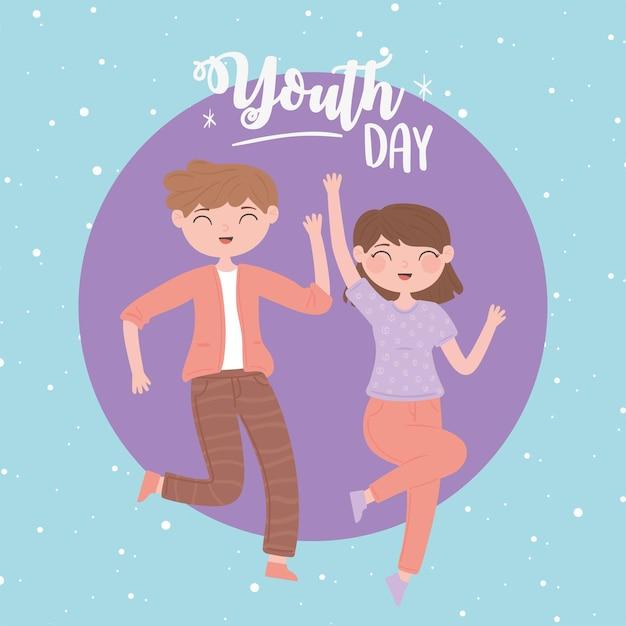 Meisje en jongen vieren jeugddag
